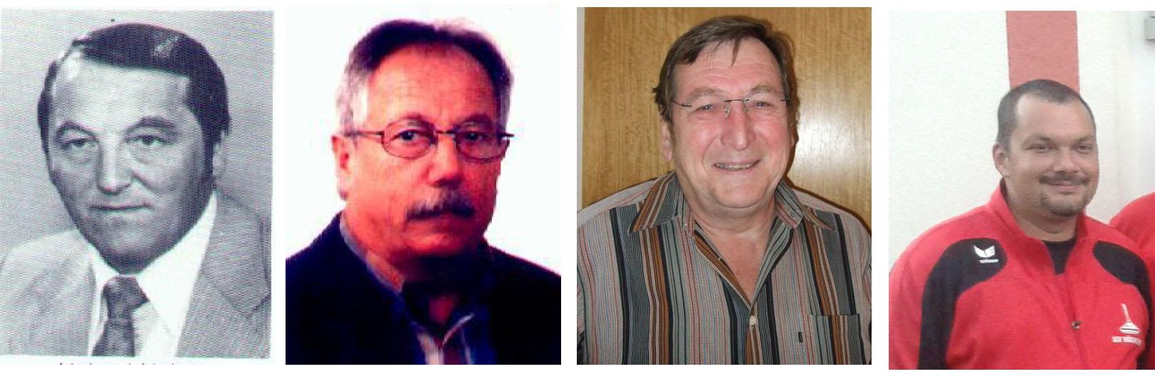 V.l.n.r. die Abteilungsleiter der Stockschützen: Helmut Huber (1984 – 1987), Helmut Winkler (1987 – 2000), Erich Dabrowski (2000 – 2013) und Rudi Karg (seit 2013).